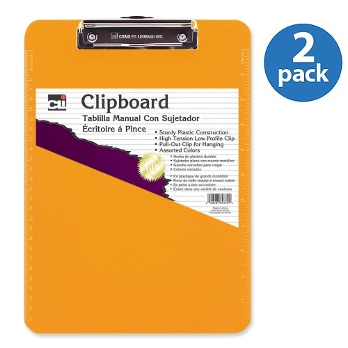 (2 Pack) CLI Rubber Grip Clipboard, Neon Orange