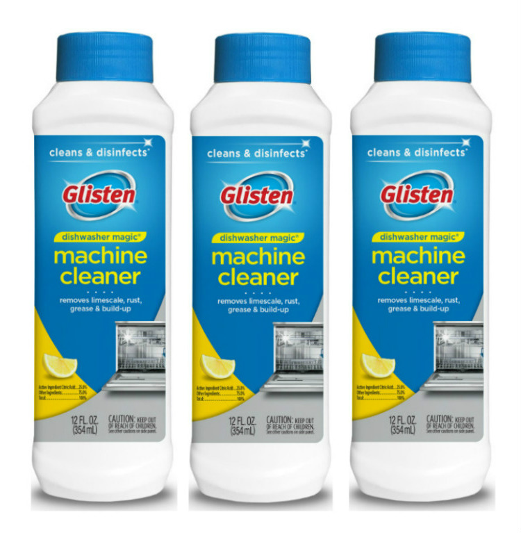 Glisten Dishwasher Magic Machine Cleaner and Disinfectant, Lemon Scent, 12 Fl Oz, 3 Count