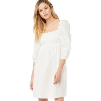 Scoop Women's Babydoll Dress with Puff Sleeves