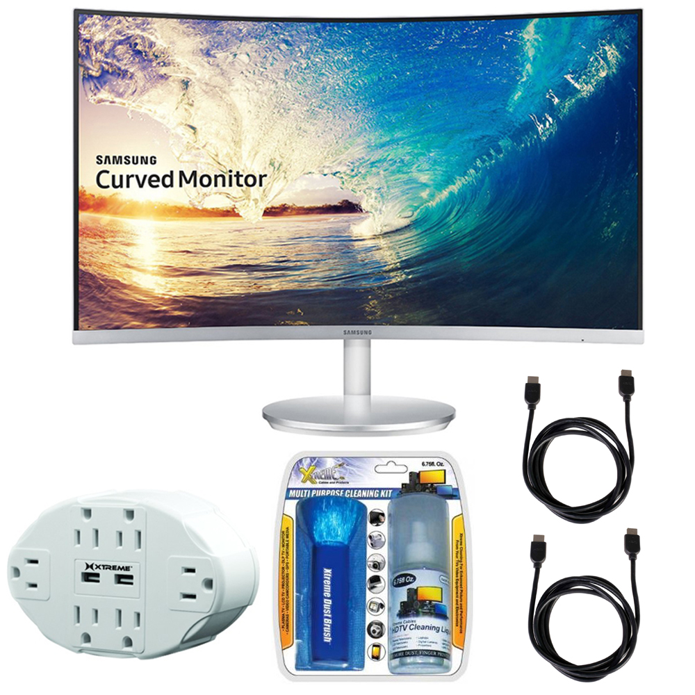 "Samsung CF591 Series 27"" LED Curved Monitor (C27F591FDN) with Xtreme 6 Outlet Wall Tap w/ 2 USB Ports White, Xtreme Performance TV/LCD Screen Cleaning Kit & 2x General Brand HDMI to HDMI Cable 6'"