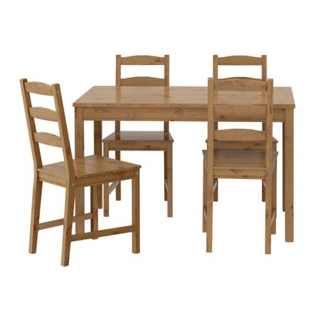 Ikea Table and 4 Chairs, Antique Stain, Solid Pine Wood, JOKKMOKK 502.111.04 Antique Pine Wood