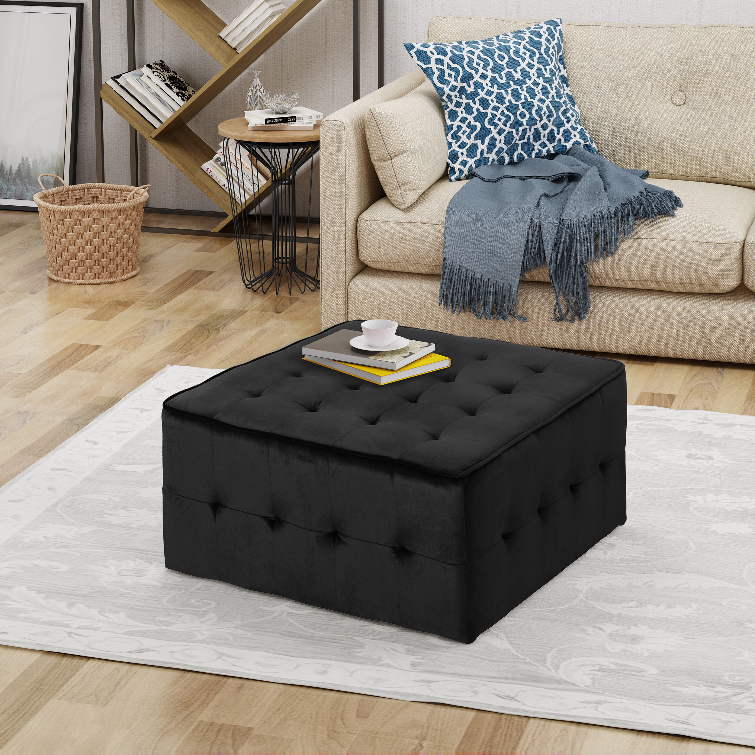 Noble House Jerry Glam Tufted Velvet Ottoman, Black