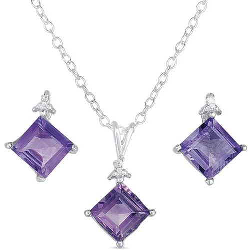 .015 T.G.W. Amethyst and Diamond Accent Sterling Silver Stud Earrings and Pendant, 18""