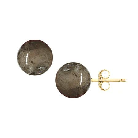 14k Quartz Stud - Jewelers 14K Solid Gold 6MM Smokey Quartz Gemstone Ball Stud Earrings BOXED