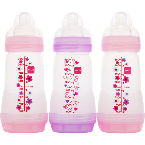 MAM - Girls' 8-oz. Anti Colic Bottle Gift Set, 3-Pack, BPA Free