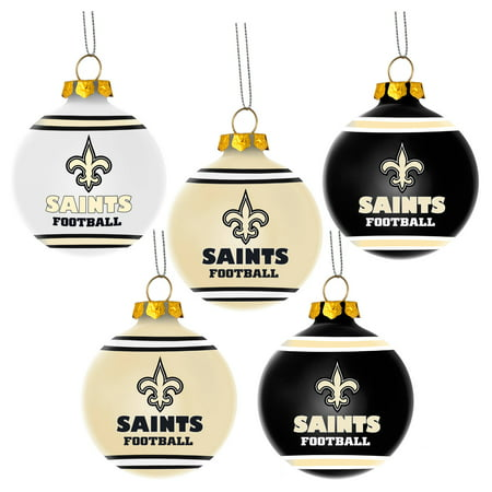 New Orleans Saints Christmas Ornaments.Forever Collectibles Nfl 5 Pack Shatterproof Ball Ornaments New Orleans Saints
