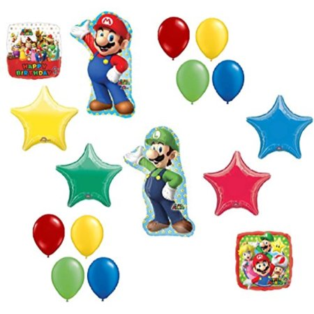Super Mario Brothers Mega 16 Piece Foil Mylar and Latex Balloons Birthday Party Decoration Set (Super Mario Brothers Decorations)