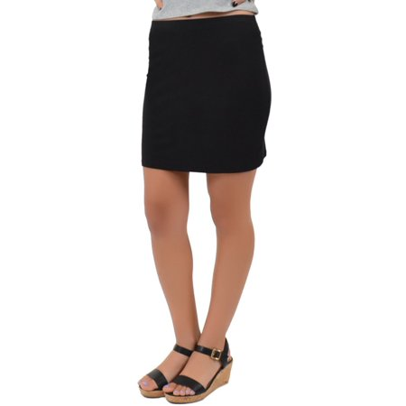 Women's Regular and Plus Size Cotton Stretch Fabric Basic Mini Skirt