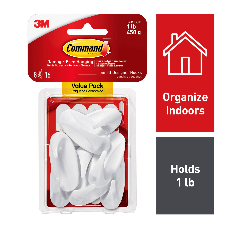 Command Designer Hooks Value Pack, 8 Small Hooks, 16 Small Strips/Pack