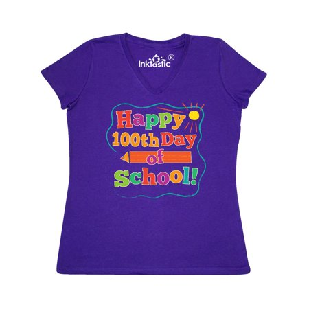Happy 100th Day Of School Women's V-Neck T-Shirt (100th Day)
