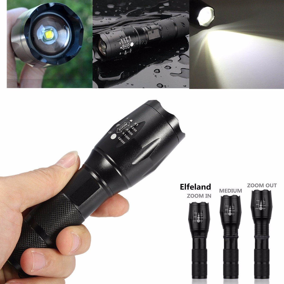 Elfeland 3000 Lm T6 LED Zoomable Focus Flashlight Tactical Torch Light Lantern Waterproof 5 Modes Portable