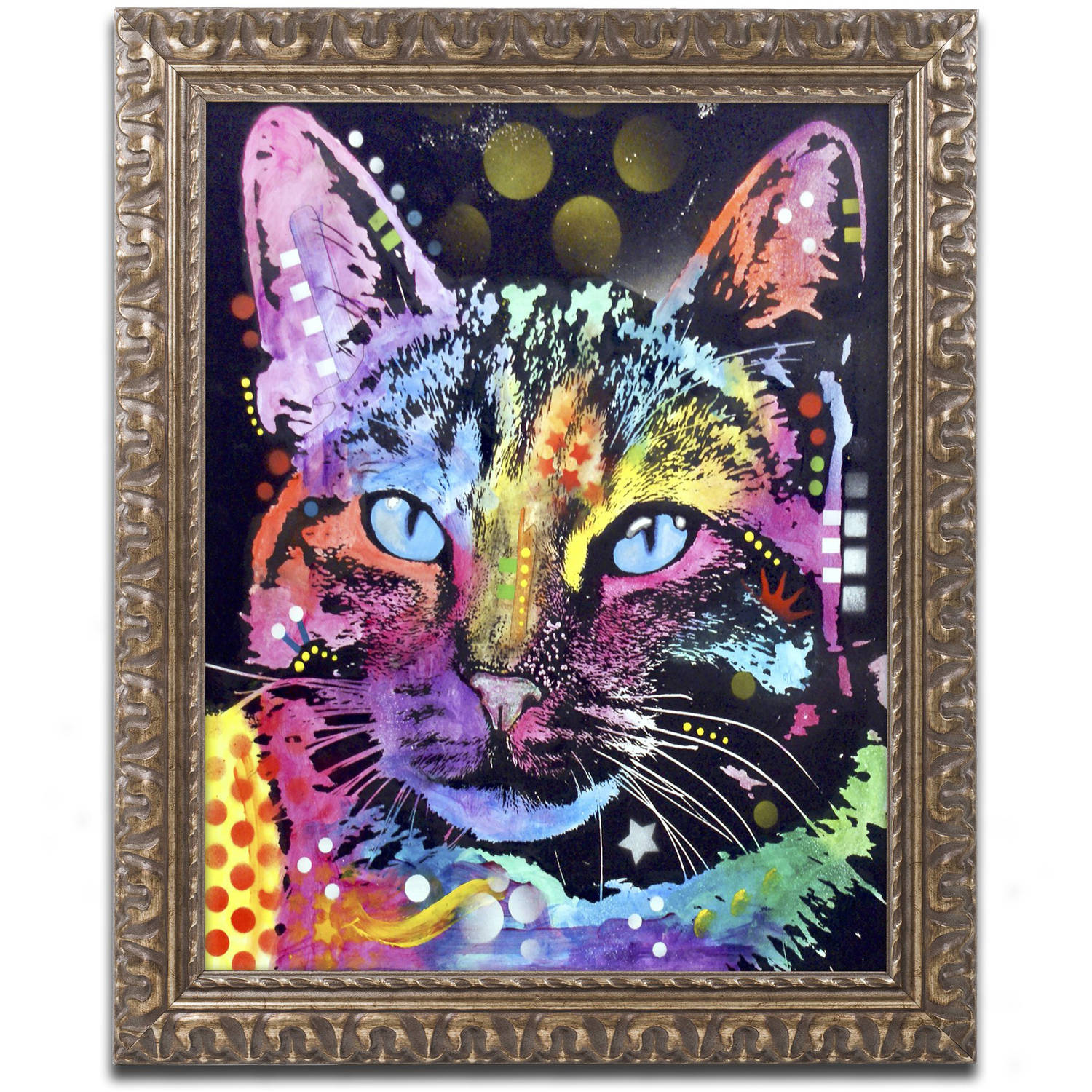 "Trademark Fine Art ""Thoughtful Cat"" Canvas Art by Dean Russo, Gold Ornate Frame by Trademark Global LLC"