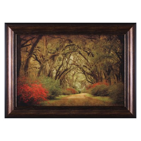 Art Effects Road Lined with Oaks and Flowers Framed Wall Art