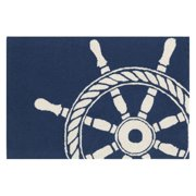 Liora Manne Frontporch 1456/33 Ship Wheel Navy Area Rug 24 Inches X 36 Inches