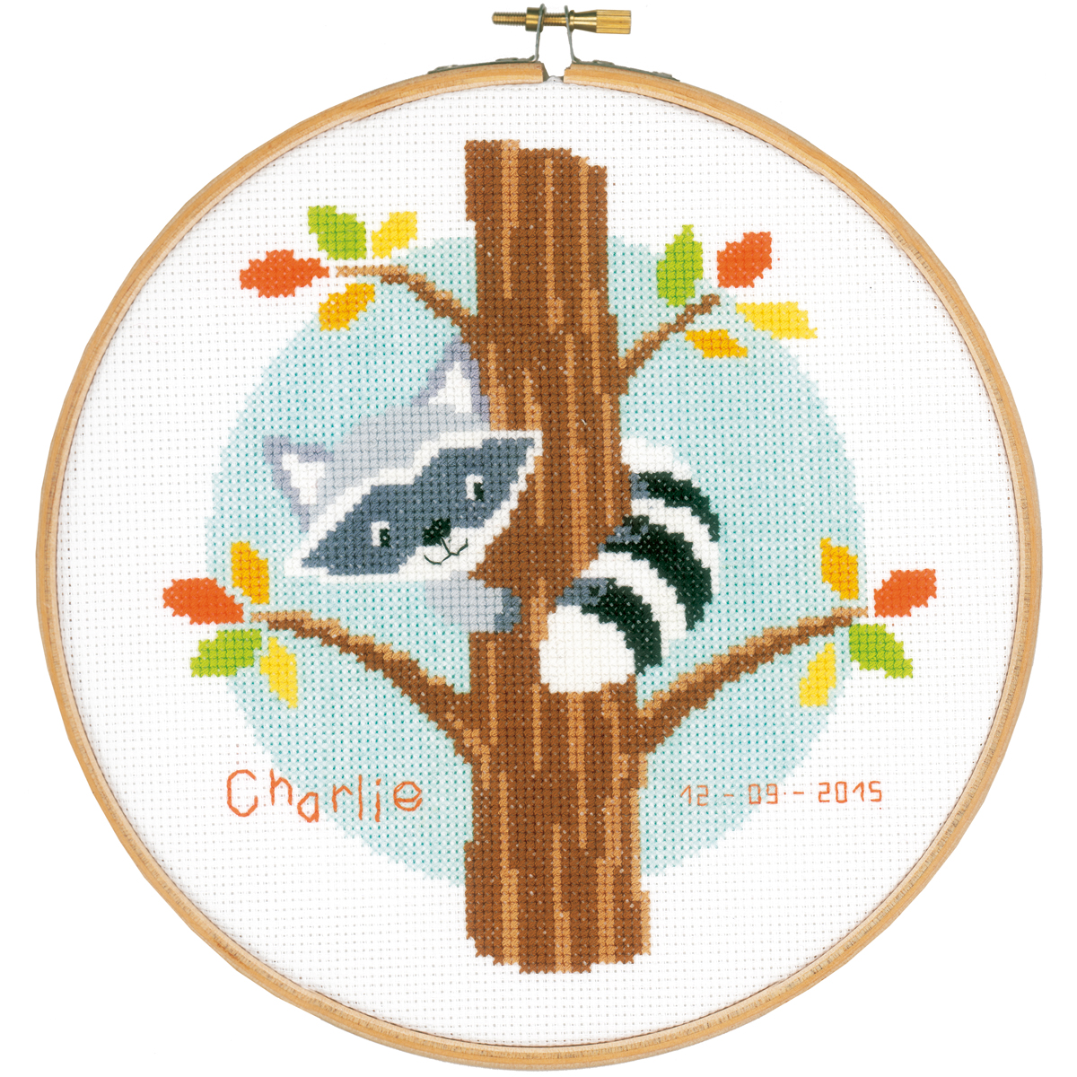 "Raccoon In Tree Birth Record On Aida Counted Cross Stitch Ki-8"" Round 14 Count"