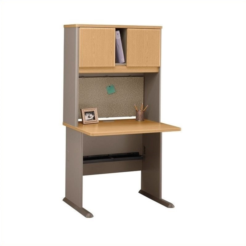 Wood Computer Desk With Hutch In Light