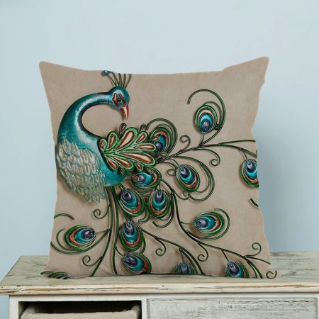 GCKG Beautiful Peacock Pattern Popular Pillow Case Pillow Cover Pillow Protector Two Sides 20 x 20 (Beautiful Pillow)