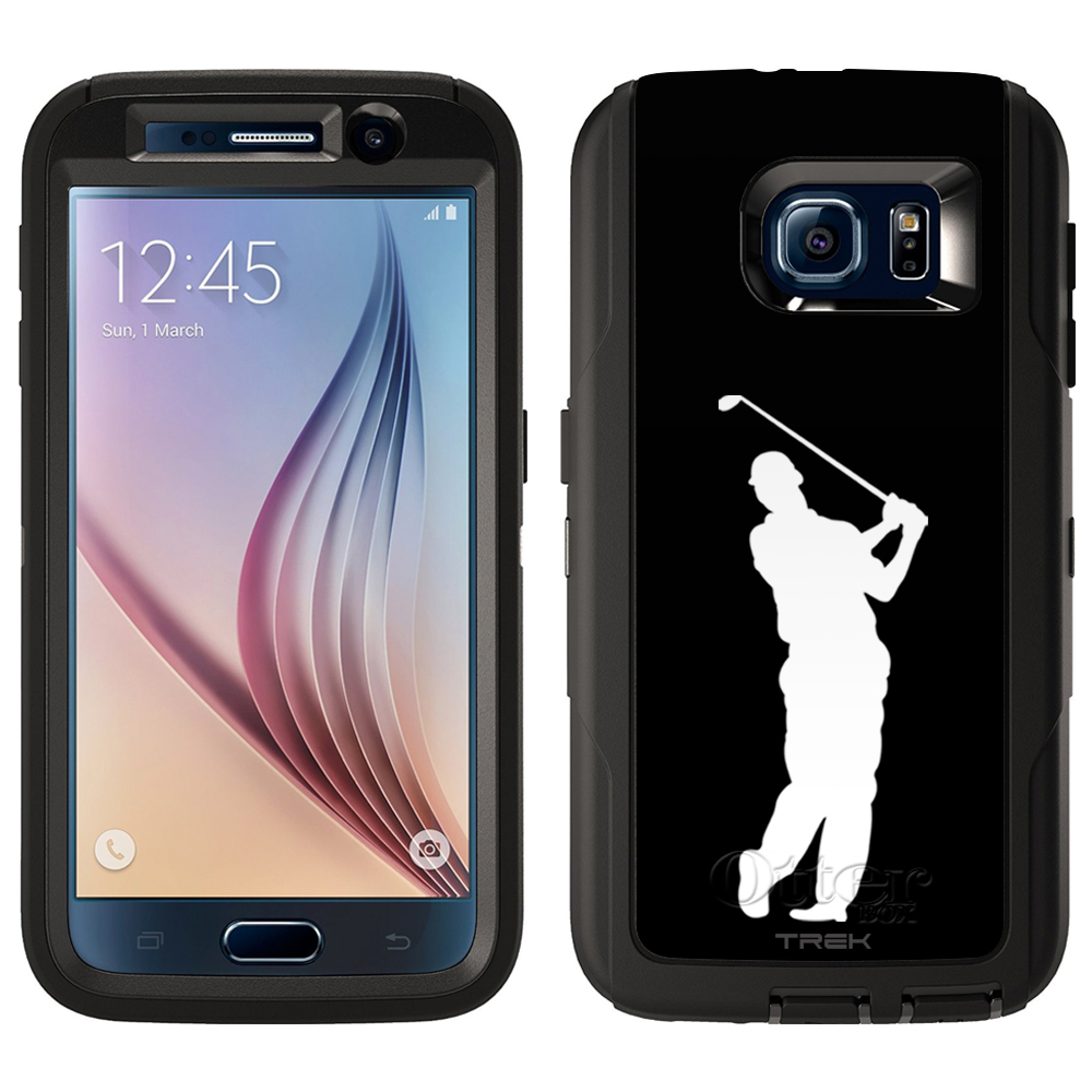SKIN DECAL FOR Otterbox Defender Samsung Galaxy S6 Case - Silhouette Golf Player on Black DECAL, NOT A CASE