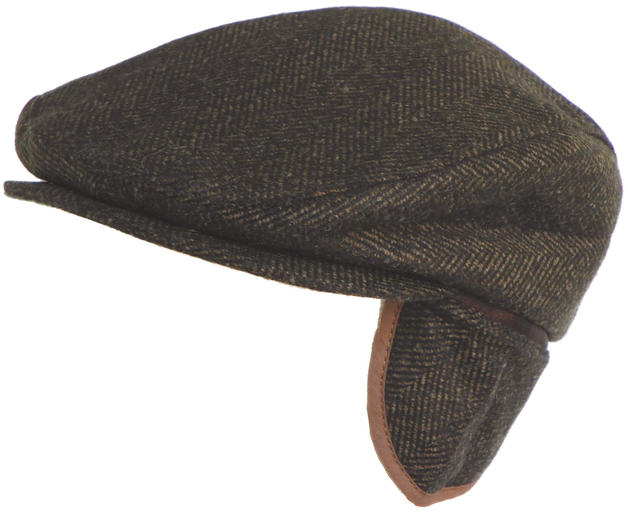 840a8a9b5d514 Herringbone Wool Blend Ear Flap Ivy Cap Winter Irish Hat Driver Scally Flat  Newsboy Gatsby - Walmart.com
