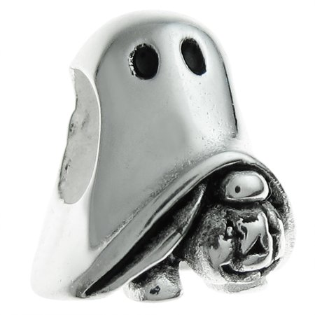 Queenberry Sterling Silver Halloween Ghost Pumpkin European Style Bead Charm Fits Pandora