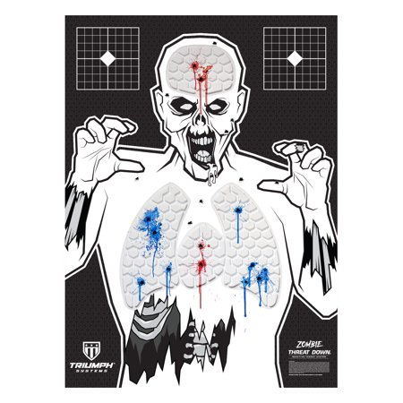Threat Down Zombie Silhouette  3-Pack  Zombie Target  Life Size Target  Highly Visible Target Target for Shooting  Short Range Target This reactive target provides instant feedback, leaving no doubt as to where your rounds have impacted the target. The individual cells are filled with environmentally safe, highly visible gel. This target was developed for most calibers. It is a great training tool for shooters of all skill levels. These targets are ideal for defensive training, but are also great for a fun day on the range. Sight in your firearm with grid targets in the corners to maximize use of this fully reactive target.