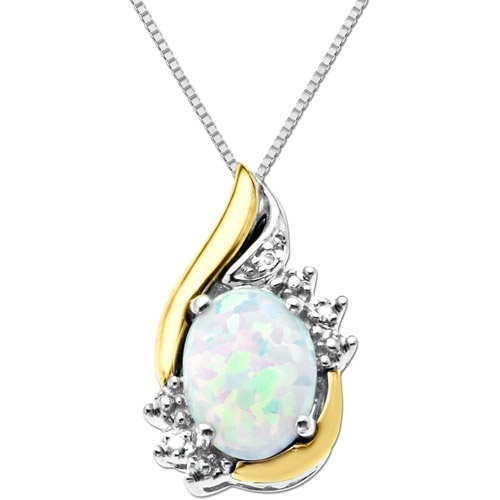 Duet Sterling Silver with 10kt Yellow Gold Oval Created Opal and Diamond Accent Pendant