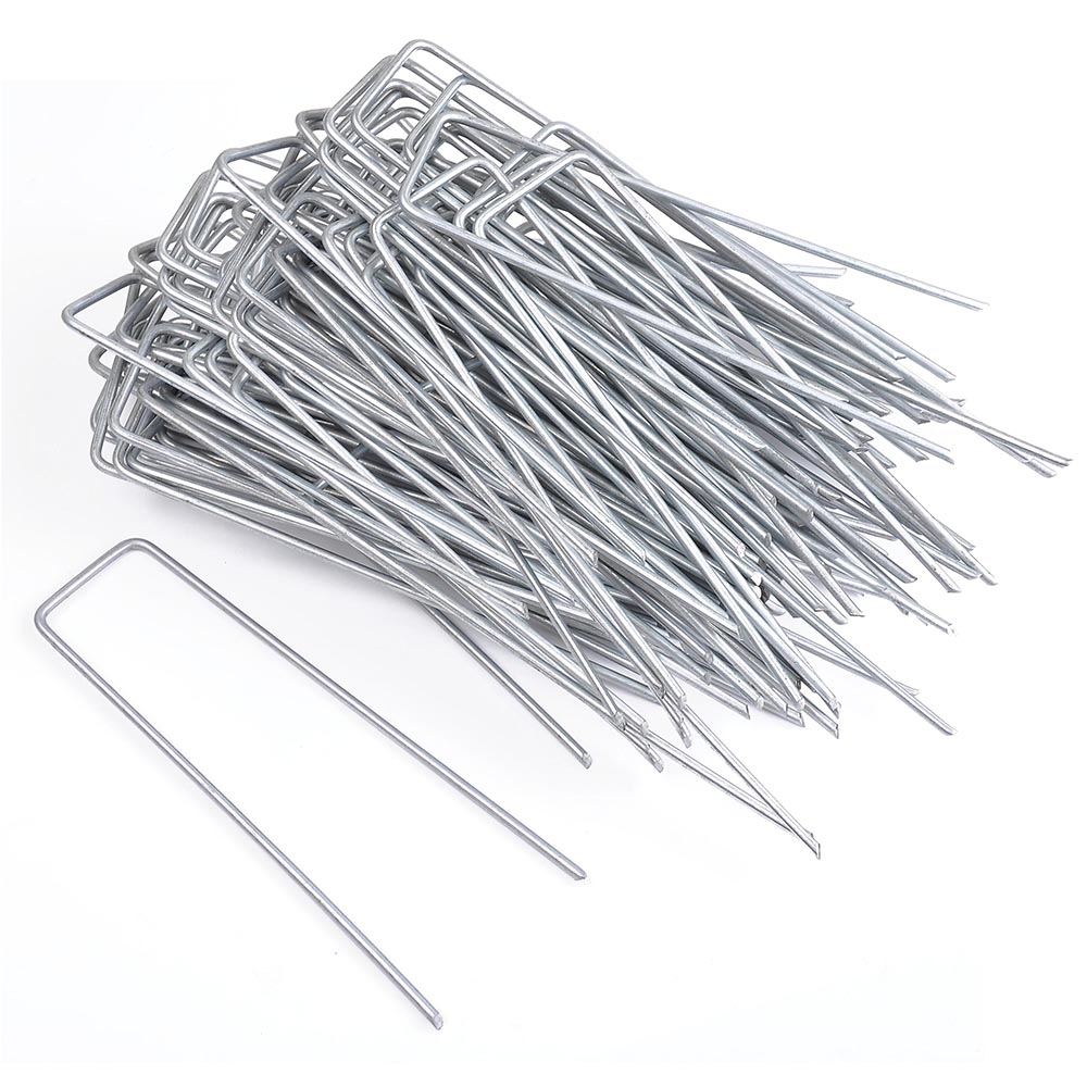 "Yescom 6"" Landscape SOD Staples 11 Gauge Galvanized Garden Stakes Weed Barrier Pins (Pack of 100)"