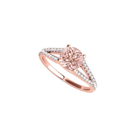 April Birthstone CZ and Morganite Ring with Split Shank - image 2 de 2