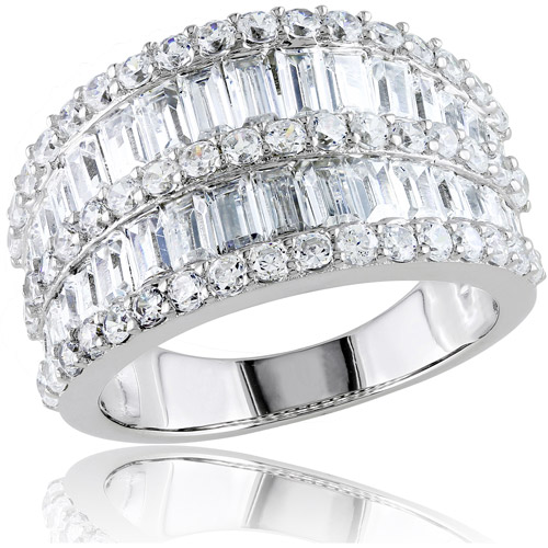 6 Carat T.G.W. Baguette and Round-Cut CZ Sterling Silver Cocktail Ring