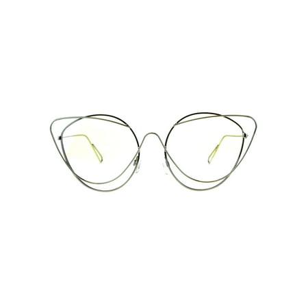 Womens Clear Lens Runway Thin Wire Rim Cateye Eyeglasses Silver