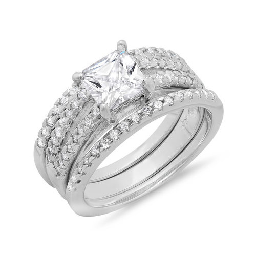 Sterling Essentials Sterling Silver Princess Cut Cubic Zirconia Solitaire Bridal Set