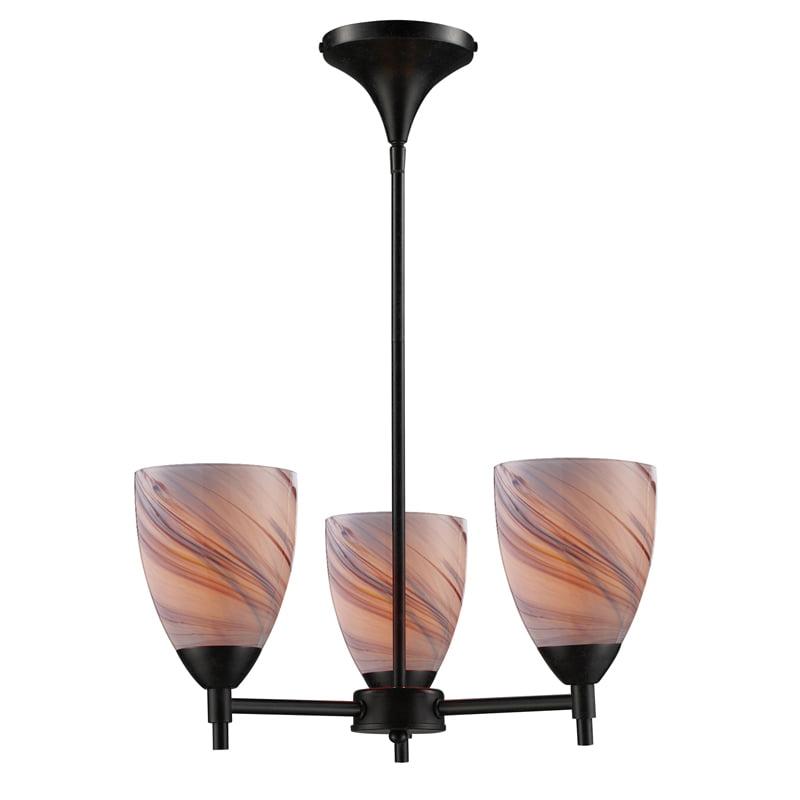 Elk Lighting 10154/3DR-CR Celina 3-Light Chandelier in Dark Rust & Creme Glass