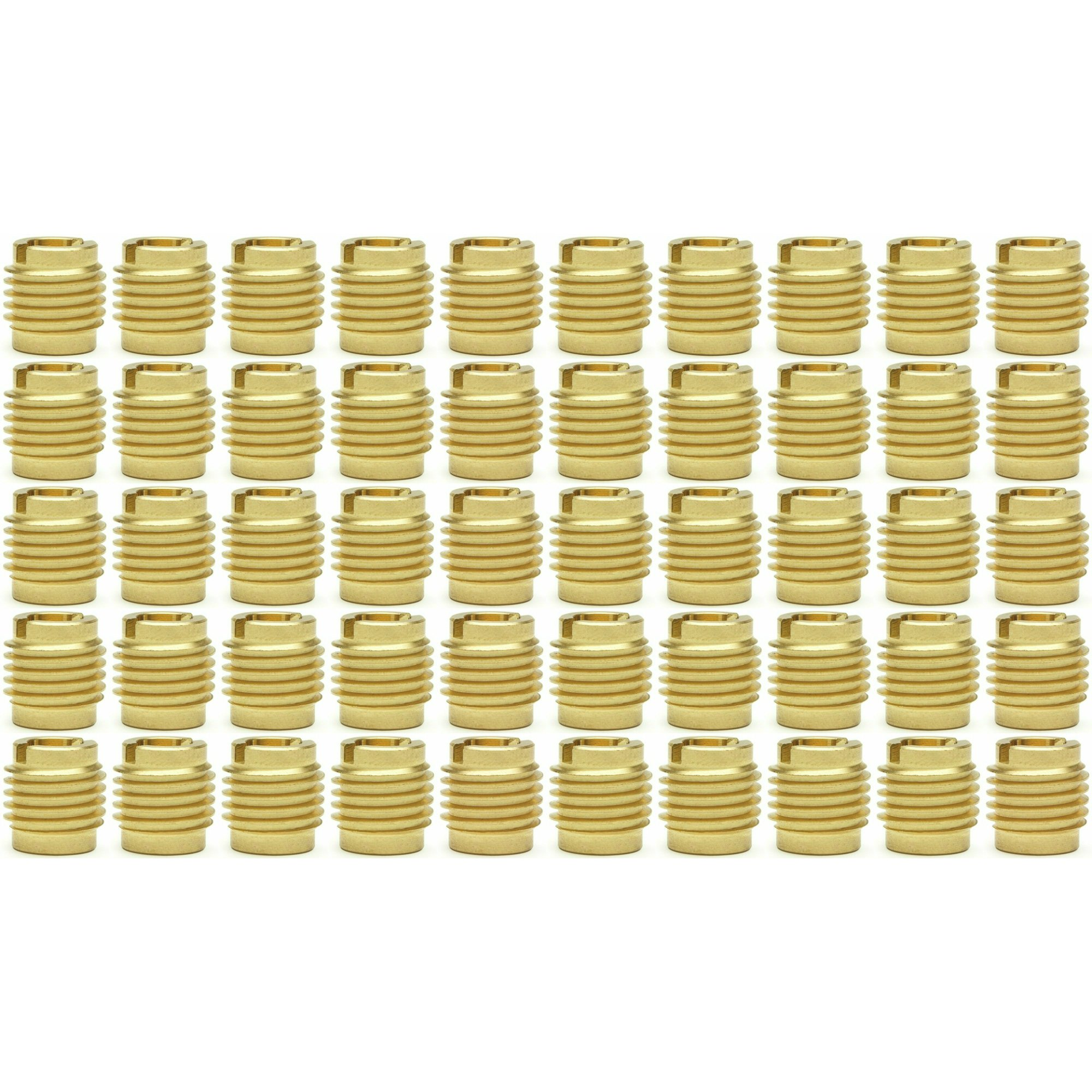 """Fifty (50) #10-24 Brass Threaded Inserts For Wood 