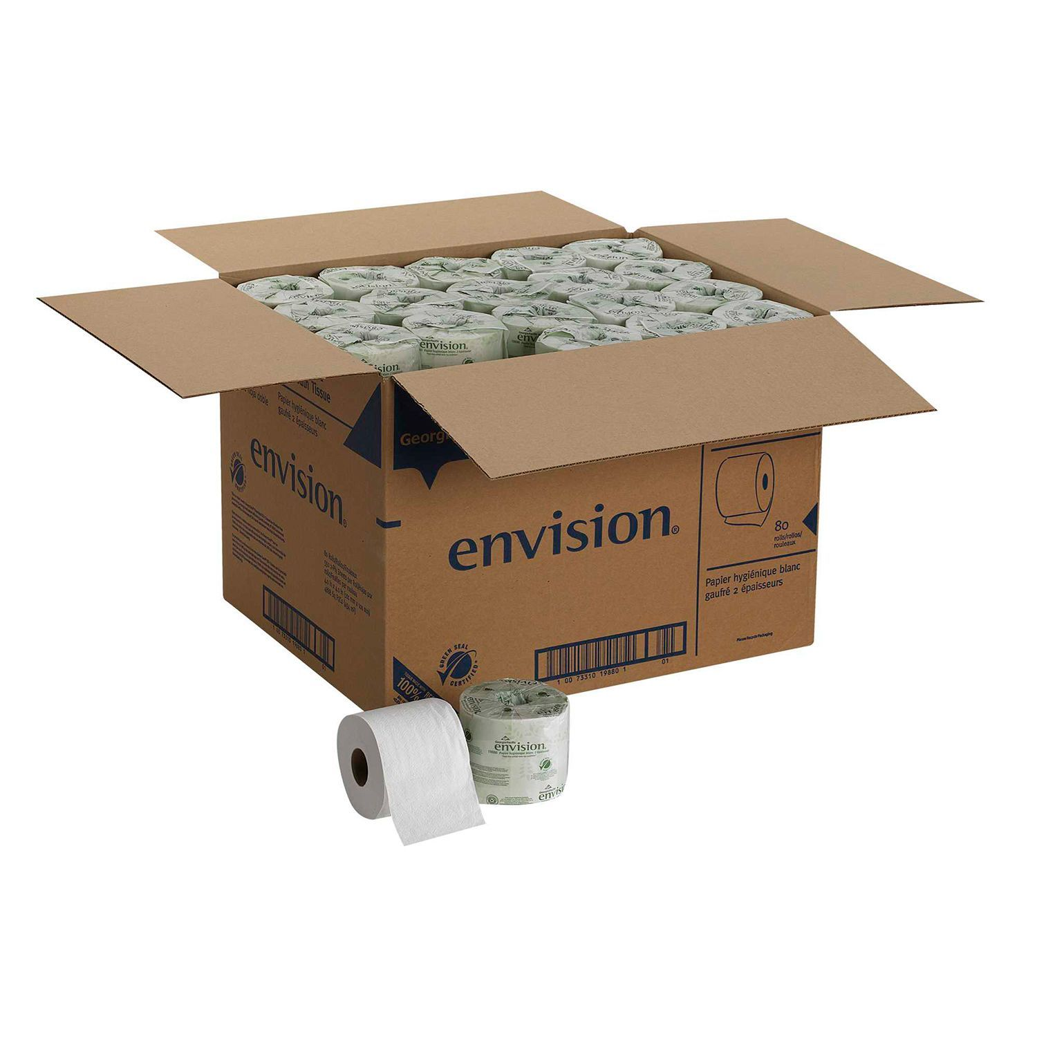 2-Ply 80 Rolls Bath Tissues Georgia Pacific 550 Sheets Recycled Envision