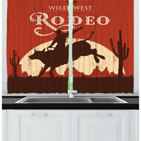 Sunset Window Windows (Vintage Curtains 2 Panels Set, Rodeo Cowboy Riding Bull Wooden Old Sign Western Wilderness at Sunset Image, Window Drapes for Living Room Bedroom, 55W X 39L Inches, Redwood Orange, by)