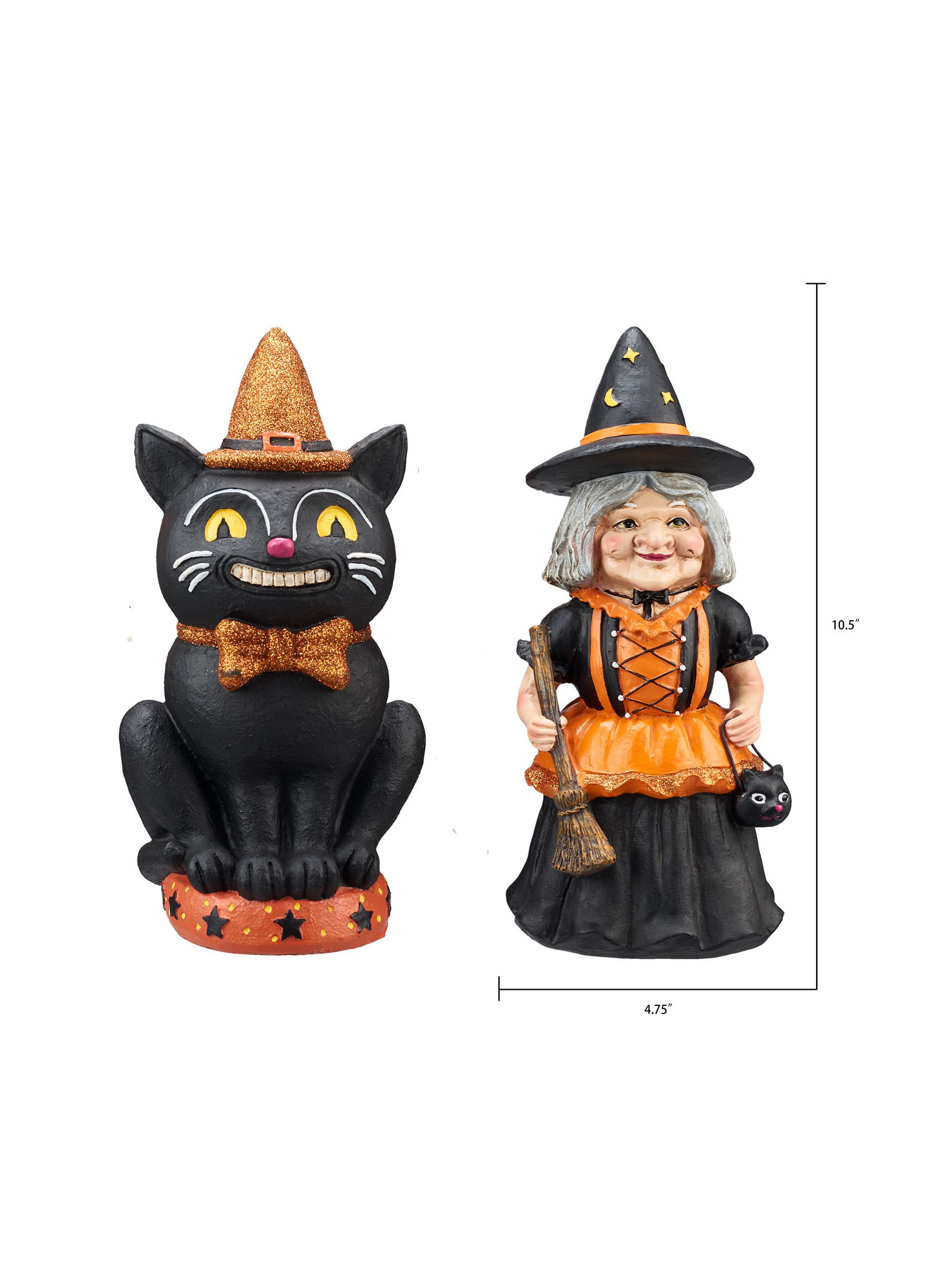 Way to Celebrate Vintage Figurine Halloween Table Top Decoration, Black Cat and Witch