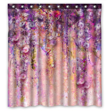 YKCG Spring Floral Purple Wisteria Flowers Tree Waterproof Fabric Bathroom Shower Curtain 66x72 Inches