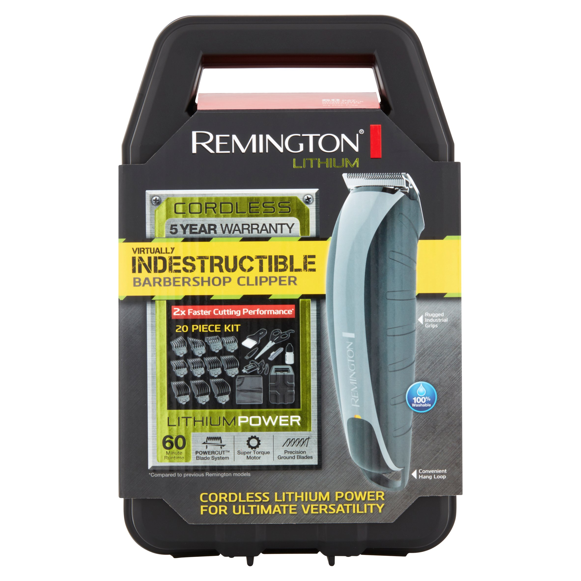 Remington Lithium Virtually Indestructible Barbershop Clipper, 20 count