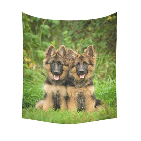 CADecor Wall Tapestry Two German Shepherd Puppies Wall Tapestry 51x60 inchesch