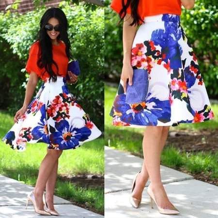 - Women Fashion A Line Floral High Waist Flared Party Long Dress Sundress Skirt