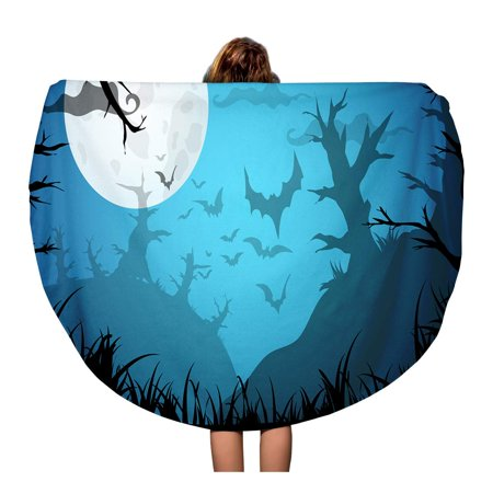 SIDONKU 60 inch Round Beach Towel Blanket Halloween Blue Spooky A4 Border Moon Death Trees Travel Circle Circular Towels Mat Tapestry Beach Throw