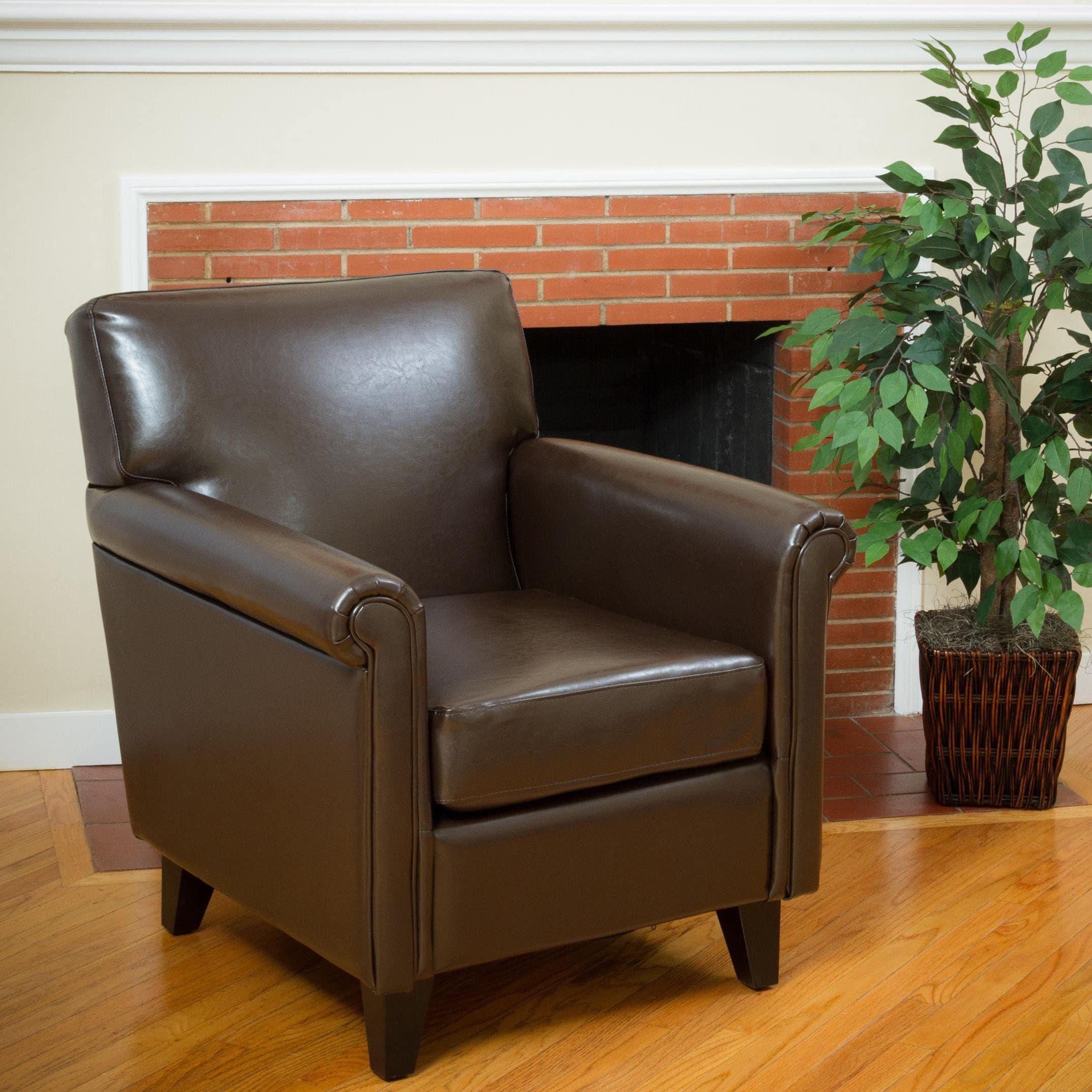 Christopher Knight Home Leeds Classic Brown Bonded Leather Club Chair by by Overstock