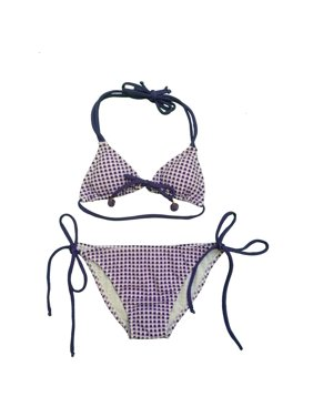 8873f84e8b9da Product Image Little Girls Lilac White Gingham Tie Accent Triangle 2 Pc  Bikini Swimsuit