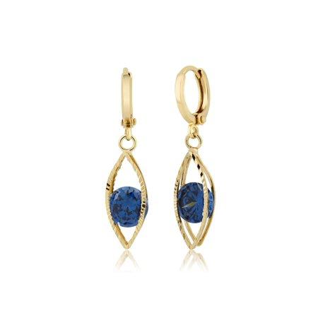Encased Gems - Uniquely Designed Deep Blue CZ Encased Dangle Earrings