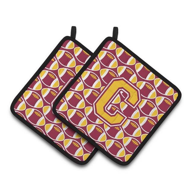 Carolines Treasures CJ1081-CPTHD Letter C Football Maroon & Gold Pair of Pot Holders, 7.5 x 3 x 7.5 in. - image 1 of 1