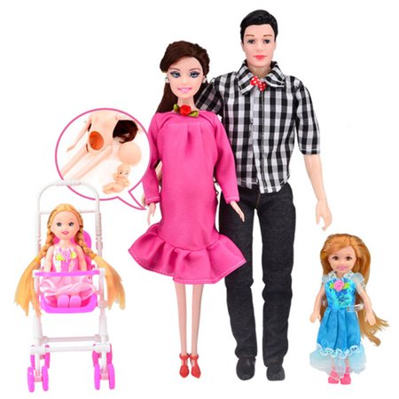 Pink Dress Real Cute Pregnant Doll Family Toys Set PK