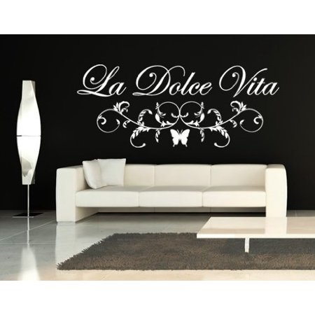 la dolce vita floral quote wall decal - wall sticker, vinyl wall art