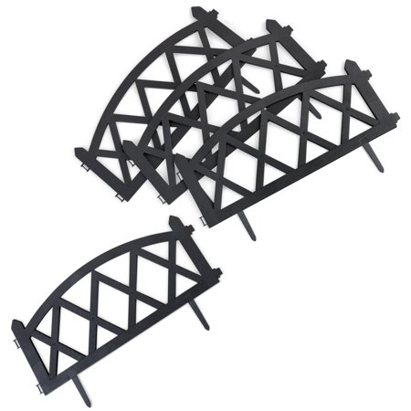 - Easy to Install Picket Fence Plastic Garden Border Edging, Set of 4, Black