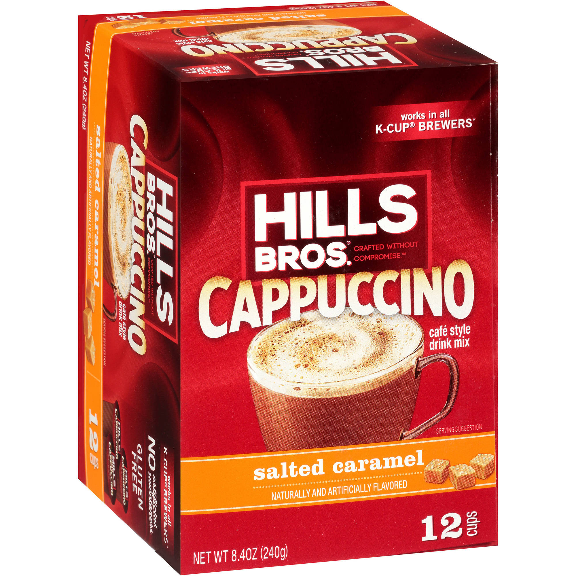 Hills Bros. French Salted Caramel Cappuccino Single Serve Cups, 12 count, 8.4 oz