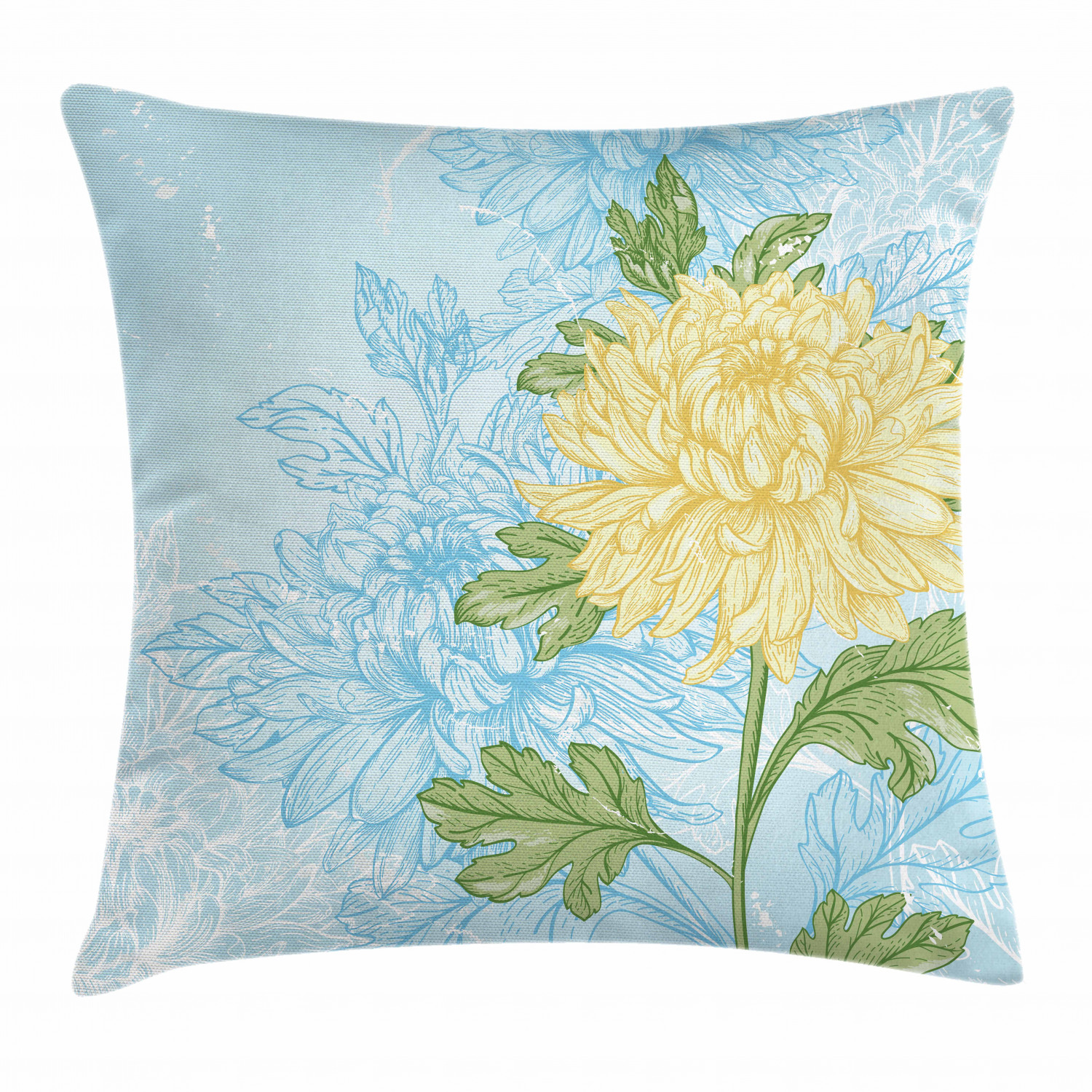 Navy And Yellow Floral Print Linen Style Throw Pillows 20x20 Spring Flower Print Accent Pillow Mothers Day Gift Floral Throw Pillow